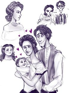 Hector and imelda and their daughter, coco& life together from coc Drawing Cartoon Characters, Cartoon Girl Drawing, Character Drawing, Cartoon Drawings, Disney Fan Art, Disney Love, Disney Magic, Disney Stuff, Disney Pixar Movies