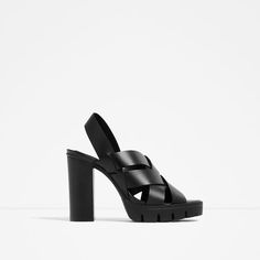 HIGH HEEL LEATHER SANDALS WITH TRACK SOLE