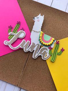 Llama cake topper, llama party decor, cactus party, fiesta party decor, CUSTOMIZE IT! Fiesta Party Favors, Fiesta Party Decorations, Fiestas Party, Party Invitations, Cricut Explore Projects, Alice, Little Flowers, Party Activities, Birthday Diy