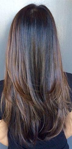 dark chocolate brunette highlights