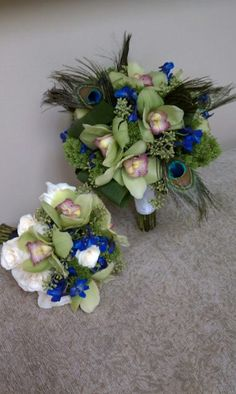 Peacock inspired wedding flowers