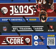 NFL 2012 Score Football Card Box - http://nfledge.net/nfl-2012-score-football-card-box/ - One of the most comprehensive checklists in the 2012 season features 300 commons and 100 rookies for set builders and team collectors alike. Product Features  36 packs of 7 cards per box 7 cards per pack Made by Panini