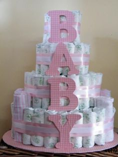 diaper+cake+ideas   Sweet Pink Baby 4 Tier Diaper Cake by Just 2 Sweet Cakes,Ect