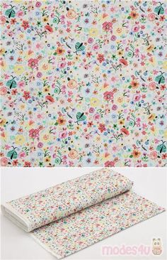 """light grey cotton fabric with green ladybug and colourful pink blue yellow florals, Material: 100% cotton, Fabric Type: smooth cotton fabric, Fabric Width: 112cm (44"""") #Cotton #Flower #Leaf #Plants #USAFabrics"""