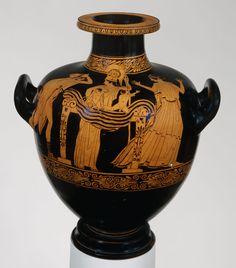 Terracotta hydria: kalpis (water jar)