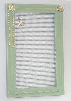 Jewelry Holder Organizer Frame Wall Hanging Vintage Pale Jade Framed