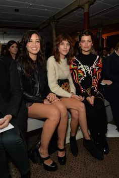 Daisy Lowe, Alexa Chung and Pixie Geldof Front Row at Christopher Kane [Photo by James Mason - JAB Productions]