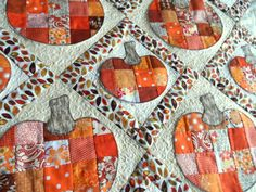 Tenture murale de potirons citrouilles patchwork par SusansPassion