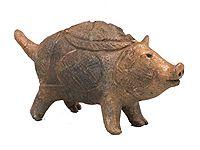 Clay Figure of Wild Boar, Late Jomon period (2000-1000 BC), Tokoshinai site, Hirosaki-shi, Aomori, Hirosaki City Museum