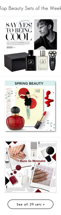 """""""Top Beauty Sets of the Week"""" by polyvore ❤ liked on Polyvore featuring beauty, Giorgio Armani, Remington, L'Oréal Paris, Christian Dior, Topshop, springscent, Essie, Polaroid and Givenchy"""