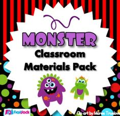 Monster Themed Classroom Materials Pack - Pack includes: * Alphabet A to Z * 6 Binder Covers * Cute Monster Classroom Jobs Display * Birthday Poster * Birthday Monsters and Month Headers * Calendar Title, Month Headers, and 3 patterned date sets * Grouping Cards * 11 Name Tag Designs for early and upper elementary * 10 Seasonal Mini-Notes - fall, Halloween, Thanksgiving, Christmas, President's Day, Valentine's Day, spring, Easter, and summer * 6 Postcards - summer message to future students,...
