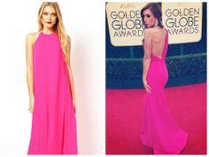 ASOS Halter Maxi, Jessi Cruickshank mesmerizes in magenta by Greta Constantine on the Red Carpet for the 2014 Golden Globes