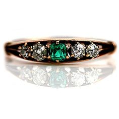 Victorian Emerald Diamond Engagement Ring