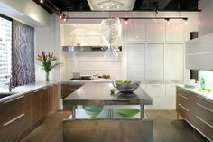 Contemporary Kitchens - Bilotta2-shows showroom white laquer + dark wood veneer + garages