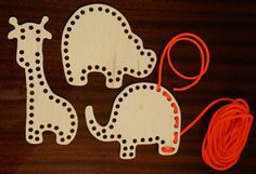 Wooden lacing toy.  Set of 3.  $20