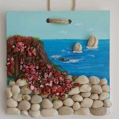 Birisinin burnuna denizin, kumun, güneşin kokusu geldi... Böylece tablomuz yeni evine gitti... #tasarımolcayca #yaz #deniz #taşlar #yenievinde #duvarlarboşkalmasın