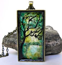 Eggshell Mosaic Tree of Life Pendant by Artbycarriepaquette, $25.00