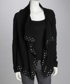 Adorable for just $29.99! Take a look at this Black Embellished Open Cardigan by Olivia M on #zulily today!