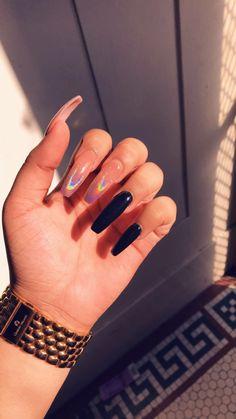 Coffin Nails, Acrylic Nails, Acrylics, Lavender Hair, Love Nails, How To Do Nails, Nail Nail, Black Nails, Nail Inspo
