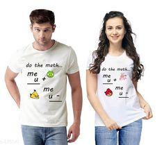 Couple Tshirts Trendy Couple T-Shirts Fabric: Semi Cotton  Sleeves: Half Sleeves Are Included Size: S - 36 in M - 38 in L - 40 in XL - 42 in XXL - 44 in Length: Up To 26 in Type: Stitched Description: It Has 2 Pieces Of T-Shirts Work: Printed Country of Origin: India Sizes Available: S, M, L, XL, XXL   Catalog Rating: ★4.1 (3362)  Catalog Name: Briar Standard Semi Cotton Couple T-Shirts Vol 1 CatalogID_101982 C79-SC1940 Code: 724-875841-
