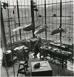 247forever:  Alexander Calder in his studio (1941) Roxbury, Connecticut