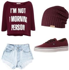 Shorts need to be quite a bit longer if you were to wear them in public. Also I would wear a grey beanie instead of a burgundy one. The beanie is too much for this outfit Lazy Day Outfits, Cute Outfits For School, Cute Summer Outfits, Outfits For Teens, Cool Outfits, Casual Outfits, Tween Fashion, Cute Fashion, Fashion Outfits