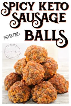 Spicy Keto Sausage Balls , By Janira Evelyne . The perfect keto appetizer - Spicy Keto Sausage Balls! This will be a crowd f. Ketogenic Recipes, Low Carb Recipes, Diet Recipes, Healthy Recipes, Ketogenic Supplements, Smoothie Recipes, Lunch Recipes, Healthy Foods, Keto Veggie Recipes