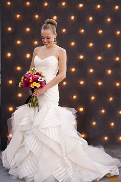 Hayley Paige striped wedding dress | Christa Elyce Photography and @twobewed | see more on: http://burnettsboards.com/2014/06/colorful-fun-kate-spade-wedding/ #weddingdress #hayleypaide