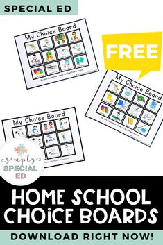 Simply Free Library - Home choice boards Special Education Activities, Special Education Classroom, Speech Therapy Activities, Educational Activities, Therapy Worksheets, Work Activities, Teacher Resources, Us School, Speech Language Therapy