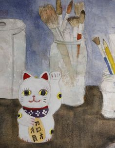 """Lucky Cat and Brushes"""