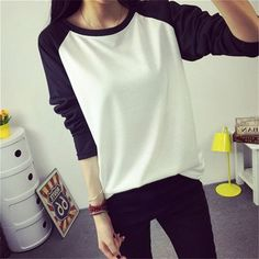 bcaca00df2c VIN 2015 Hitz Korean women tops raglan letters spell color printing tshirt  loose long-sleeved plus size t-shirt(China (Mainland))