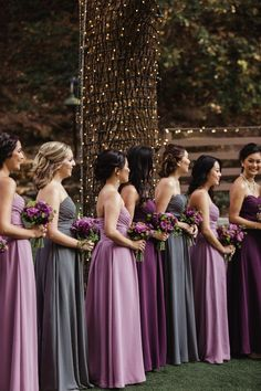 Love the purple and gray color combo from Azazie