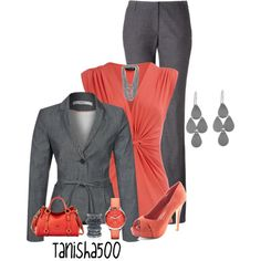 """Coral and Grey :)"" by tanisha500 on Polyvore"