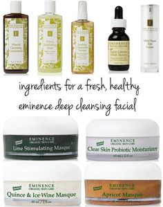 eminence deep cleansing facial spa skincare products.  Great Organic skincare line out of Hungary, leaving your skin feeling clean & fresh.