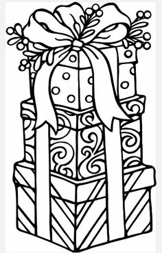 Presents Christmas Gift Coloring Pages Sheets For Kids Image Noel