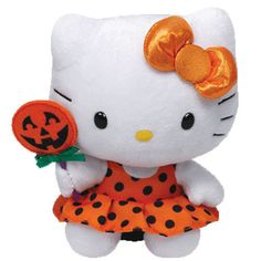 Ty HELLO KITTY Halloween Pumpkin Lollipop Beanie Baby ~ 2013 NEW Release ~ MINT