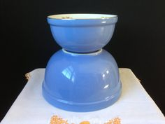 Hall China  Royal Rose  Nesting Bowls  Cadet Blue  Set by nddevens, $45.00