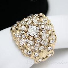 Gold Wedding Jewelry Swarovski Rhinestone Bridal Bracelet Swarovski Rhinestone Cuff wide bracelet FAITH