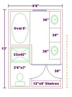 Bathroom Plans/Free 9x13 Master Bathroom Floor Plan With Oval | Bathroom |  Pinterest | Bathroom Floor Plans, Bathroom Plau2026
