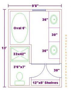 Bathroom Plans Free 9x13 Master Bathroom