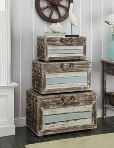 Nautical Accent Trunks - Multicolored Finished in our weathered Islander multicolor finish with nautical rope handles, the ways you will find to use these Christopher Knight Home Nautical Accent Trunks are as vast as your imagination. Decorative Trunks, Decorative Pillows, Decorative Boxes, The Porter, Vintage Trunks, Nautical Rope, Nautical Style, Nautical Fashion, Accent Furniture