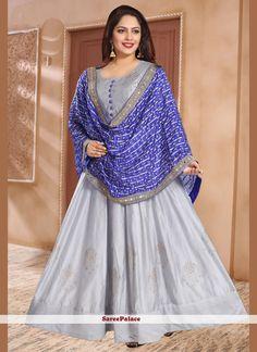 Grey Trendy Gown Silk Anarkali Suits, Anarkali Dress, Abaya Fashion, Grey Fashion, Readymade Salwar Kameez, Lycra Leggings, Yellow Gown, Gowns Online, Designer Gowns