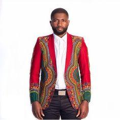 Red or black dashiki blazer