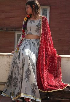 Simple & Sober Black Printed White Ghagra Choli #White, #Printed, #DigitalPrinted, #Cotton, #ChaniyaCholi, #navratri