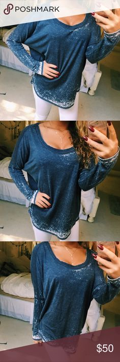 nwot blue + white long sleeve top super cute chaser brand blue and white long sleeve tee with a low droop back. so comfy and soft! size large but could fit anyone depending on how you like the fit; nwot! Chaser Tops Tees - Long Sleeve