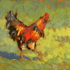 impressionism | Contemporary Impressionism Rooster Chicken oil Painting, original ...