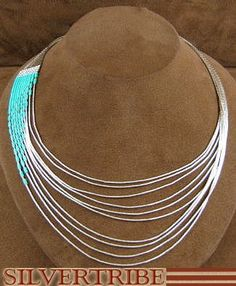 Hand Strung Liquid Sterling Silver Green Turquoise Waterfall Necklace LS147GT