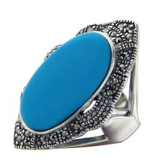 925 Sterling Silver Oval TURQUOISE and MARCASITE Ring Size 7.5 »R321