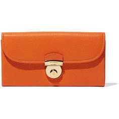 Salvatore Ferragamo Fiamma Continental Wallet (817,440 KRW) ❤ liked on Polyvore featuring bags, wallets, gold wallet, lock bag, credit card holder wallet, lock wallet and orange bag