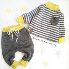 Crochet Baby Dress Pattern, Baby Sweater Knitting Pattern, Knitted Baby Cardigan, Knitted Baby Clothes, Baby Knitting Patterns, Kids Outfits Girls, Baby Boy Outfits, Knit Baby Pants, Knitting For Kids